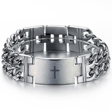 En gros Mode Classique Hommes Espagnol Bible Seigneur de Prière Croix Titane Acier Bracelet NHOP178177's discount tags
