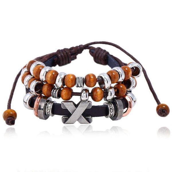 Hot Leather Bracelet Wholesale Beaded Leather Bracelet Punk Cross Bracelet NHPK178077