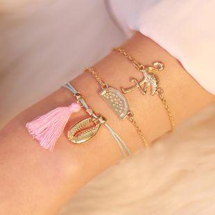 Wholesale Trend Simple Shell Watermelon Flamingo Three-Piece Bracelet Fashion Jewelry Set NHDP178288's discount tags