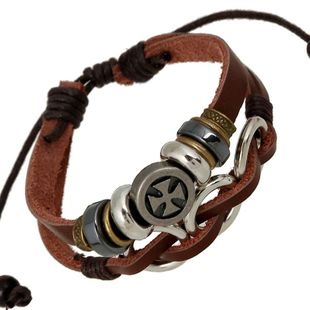 Bracelet European and American Style Leather Alloy Braided Bracelet Leather Bracelet Unisex  NHPK178081's discount tags