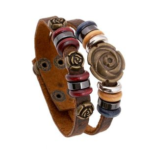 Jewelry Leather bracelet Leather Jewelry Rose Vintage Leather Bracelet NHPK178090's discount tags