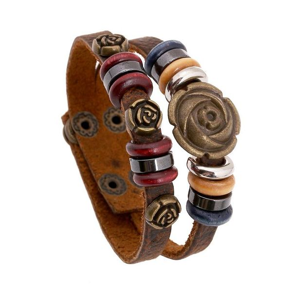 Jewelry Leather bracelet Leather Jewelry Rose Vintage Leather Bracelet NHPK178090