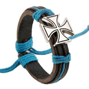 Punk Wind Leather Bracelet Alloy Cross Vintage Leather Bracelet NHPK178094's discount tags