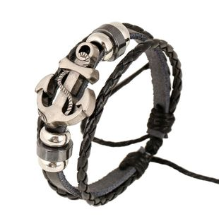Beaded anchor leather bracelet Wholesale Fashion NHPK178093's discount tags