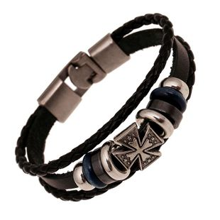 Punk Bracelet Wholesale Leather Bracelet Handmade Vintage Leather Bracelet NHPK178101's discount tags