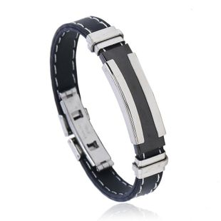 Silicone Stainless Steel Bracelet Double Clip White Line Black Men's Jewelry Wholesale NHPK178104's discount tags