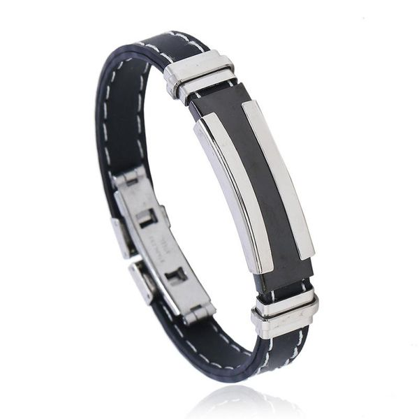 Silicone Stainless Steel Bracelet Double Clip White Line Black Men's Jewelry Wholesale NHPK178104