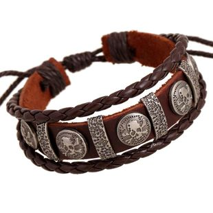Jewelry wholesale unisex bracelet leather alloy woven bracelet leather bracelet NHPK178107's discount tags