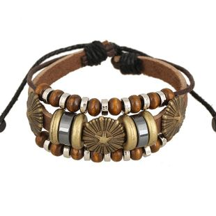 Wholesale Trend New Beaded Leather Bracelet Multi Bead Bracelet Vintage Leather Bracelet NHPK178112's discount tags