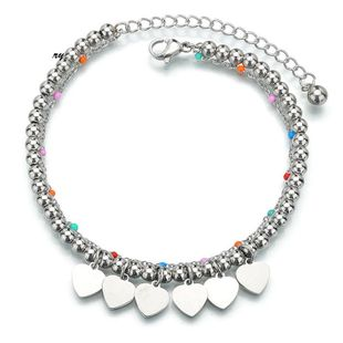 New simple fashion heart-shaped bracelet stainless steel adjustable ball heart color rice beads bracelet NHHF178185's discount tags