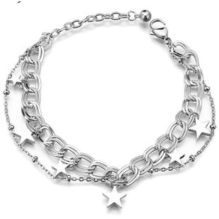 Fashion wild smooth five-pointed star titanium steel bracelet women's NHHF178188's discount tags
