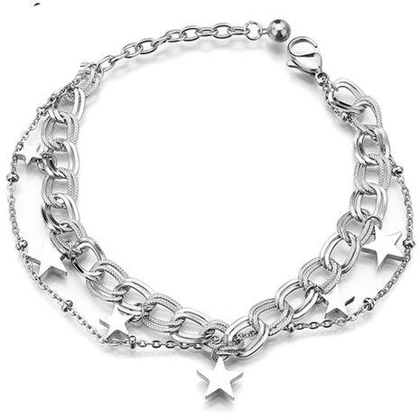 NHHF178188 bracelet en acier titane à cinq branches en forme d'étoile sauvage et lisse pour femme's discount tags