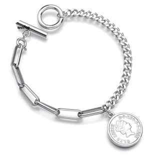 Queen Elizabeth avatar round coin coin bracelet fashion stainless steel OT buckle chain bracelet NHHF178189's discount tags