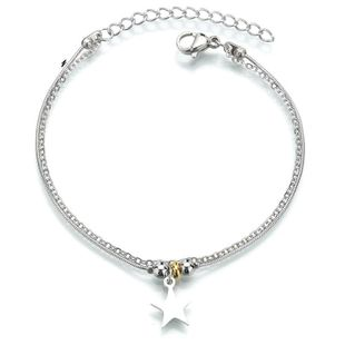Japanese and Korean chain five-pointed star bracelet fashion round snake bone stainless steel adjustable bracelet NHHF178192's discount tags