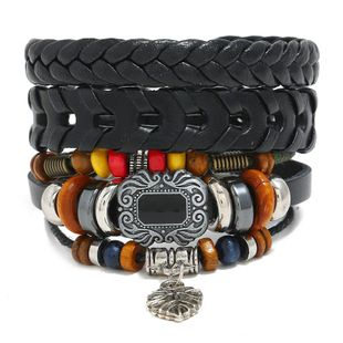 Leather bracelet vintage woven leather jewelry diy three-piece wooden beads bracelet NHPK178115's discount tags
