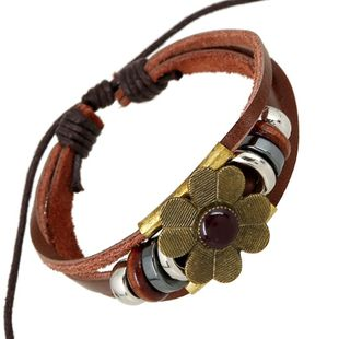 Handmade string beads woven leather bracelet alloy flower bracelet wholesale NHPK178116's discount tags