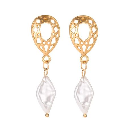 Wholesale fashion New temperament simple pearl Asian gold geometric hollow earrings earrings NHDP178229's discount tags