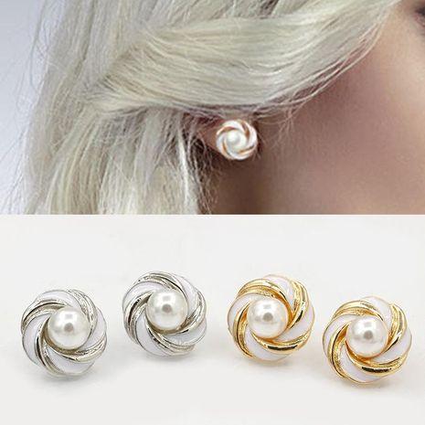 New Korean jewelry wholesale round flower drip earrings pearl earrings NHDP178225's discount tags