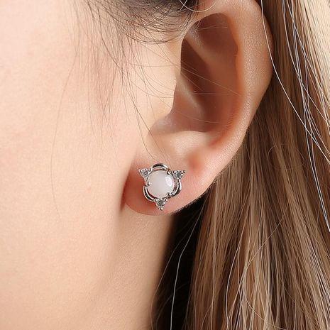 Wholesale Trend Earrings fashion copper inlaid zircon cute earrings female imitation white jade egg face earrings female NHDP178249's discount tags