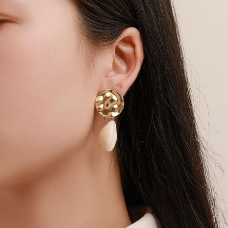 Korean version of the trend of earrings personality embossed round shell conch geometric earrings earrings simple Asian gold women's earrings NHDP178256's discount tags