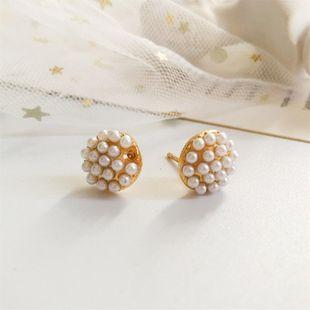 Korean version of the hemisphere small mushroom shaped pearl earrings millet beads pearl NHDP178263's discount tags