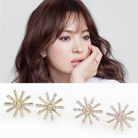 Korean drama Hui Qiaomei with flash diamond zircon snowflake earrings NHDP178272's discount tags