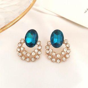 Openwork sea blue crystal diamond large earrings NHDP178264's discount tags