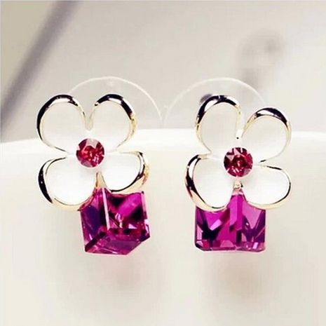 Beautiful diamond-studded crystal flower earrings Korea imported high quality zircon earrings NHDP178285's discount tags