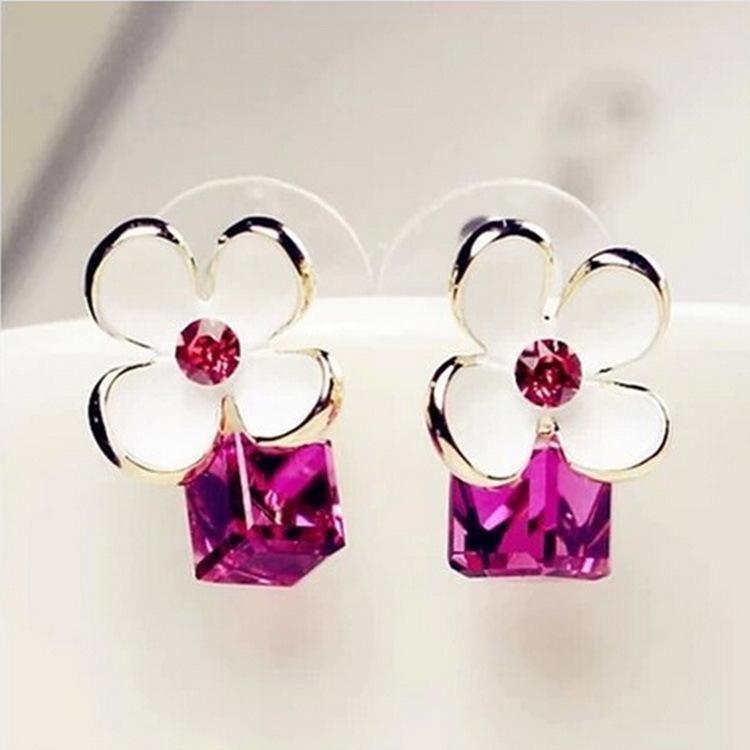 Beautiful diamond-studded crystal flower earrings Korea imported high quality zircon earrings NHDP178285