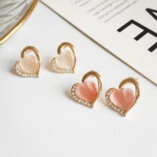 Rhinestone Opal Earrings Half Heart Diamond Stud Earrings NHDP178286's discount tags
