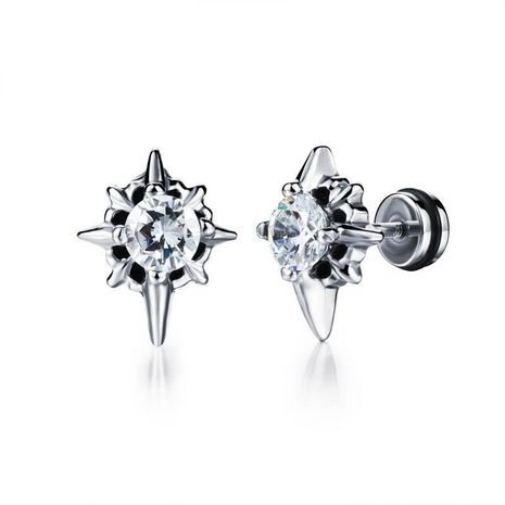 Boucles d'oreilles croix noire diamant punk en acier titane NHOP178144's discount tags