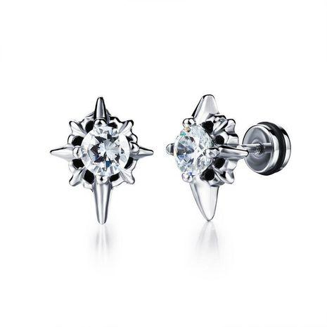 Titanium steel punk diamond black cross earrings NHOP178144's discount tags