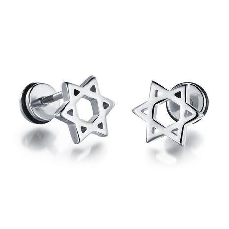 Boucles d'oreilles homme acier titane plaqué or creux six étoiles NHOP178145's discount tags