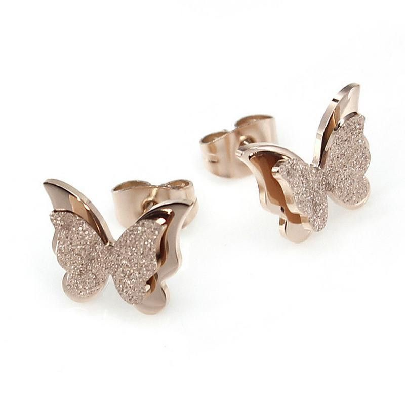 Exquisite fashion rose gold-plated matte ladies earrings NHOP178171
