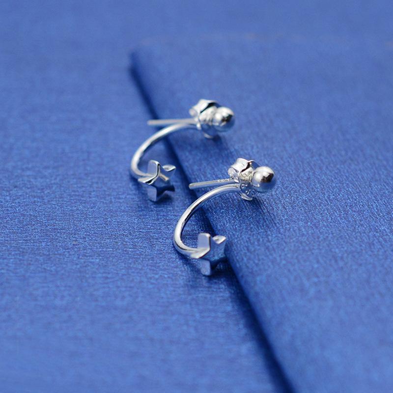 Simple post-hung star stud earrings copper silver plated color-proof hypoallergenic handmade earrings wholesale trend  NHCU178294