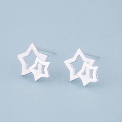 S925 silver ear needle star earrings female hollow five-pointed star earrings star earrings wholesale trend  NHCU178295's discount tags
