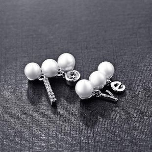 Korean version of the simple minimalist diamond LOVE letters pearl asymmetric earrings NHLJ177992's discount tags