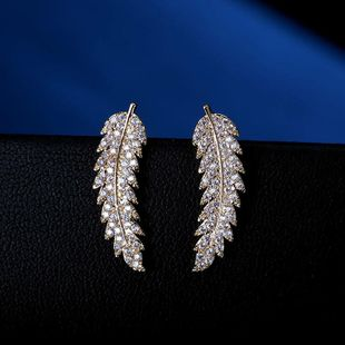 Korean fashion classic micro-inlaid zircon leaves earrings personality simple earrings NHLJ178003's discount tags
