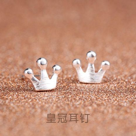 Korean version of the brushed crown mini earrings copper silver plated color anti-allergic crown ear NHCU178317's discount tags