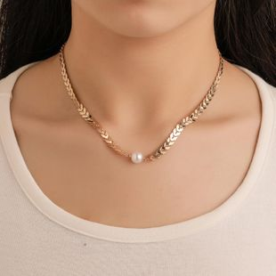 Fashion fish bone chain new sequins short necklace female fashion pearl chain clavicle chain wholesale NHDP178233's discount tags