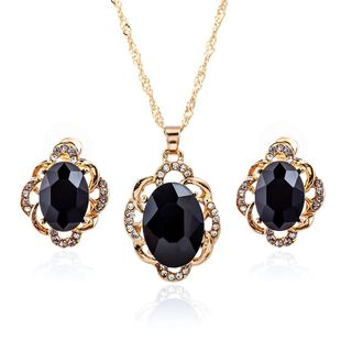 Korean version of the elliptical black gemstone stud earrings necklace full of two sets of ornaments NHDP178241's discount tags