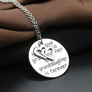 Engraved English Letters Round Love Letters Grandmother Pendant Necklace NHDP178244's discount tags