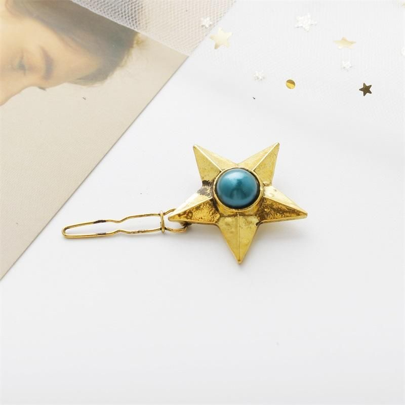 Hair accessories retro pearl gemstone five-pointed star hairpin jewelry wholesale NHDP178245