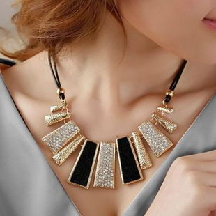 Geometric leather rope rhinestone drop oil necklace European and American style necklace NHDP178253's discount tags