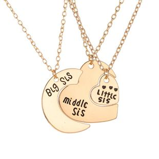 Love letter necklace three-piece large, medium and small moon heart pendant necklace NHDP178254's discount tags