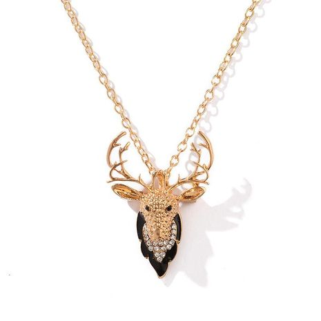 Ms. Christmas Elk Diamond brooch necklace dual-use alloy plating color new jewelry wholesale fashion NHDP178268's discount tags