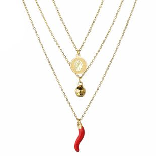 Fashion three-layer pepper necklace queen avatar necklace small bell necklace stainless steel jewelry wholesale fashion  NHHF178193's discount tags