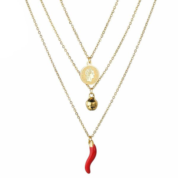 Fashion three-layer pepper necklace queen avatar necklace small bell necklace stainless steel jewelry wholesale fashion  NHHF178193