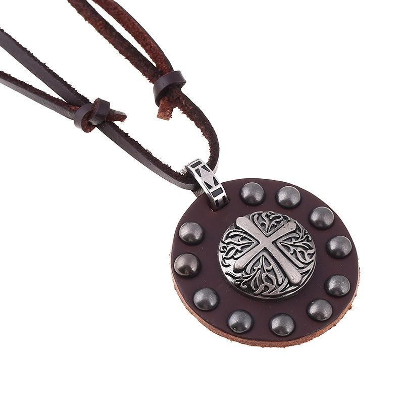 Jewelry Punk Necklace Retro Punk Alloy Cross Leather Necklace Long Necklace wholesale fashion NHPK178099