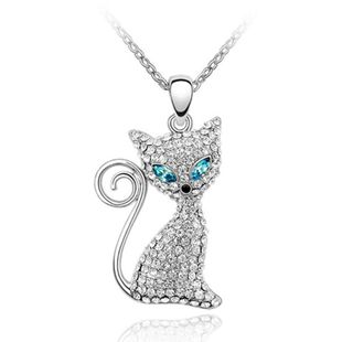 Fashion plated gold crystal necklace electric eye cat wholesale fashion NHLJ178006's discount tags